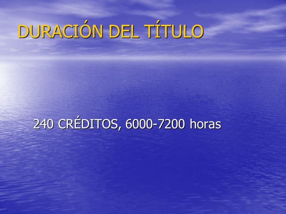 DURACIÓN DEL TÍTULO 240 CRÉDITOS, 6000-7200 horas 240 CRÉDITOS, 6000-7200 horas