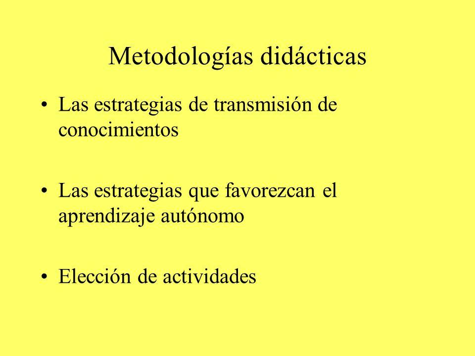 Metodologías didácticas Las estrategias de transmisión de conocimientos Las estrategias que favorezcan el aprendizaje autónomo Elección de actividades