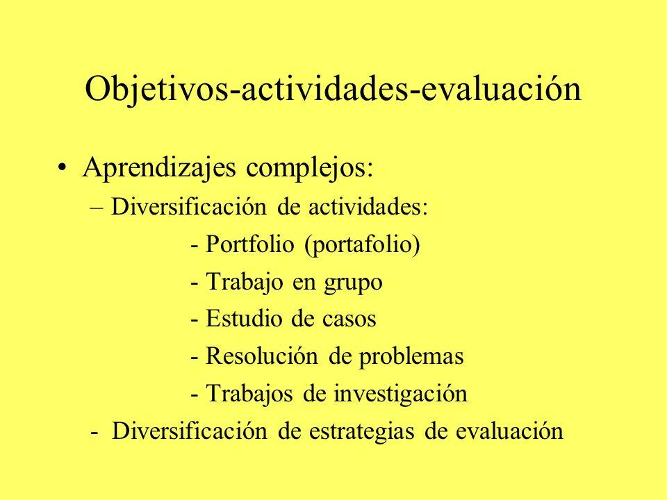 Objetivos-actividades-evaluación Aprendizajes complejos: –Diversificación de actividades: - Portfolio (portafolio) - Trabajo en grupo - Estudio de casos - Resolución de problemas - Trabajos de investigación - Diversificación de estrategias de evaluación