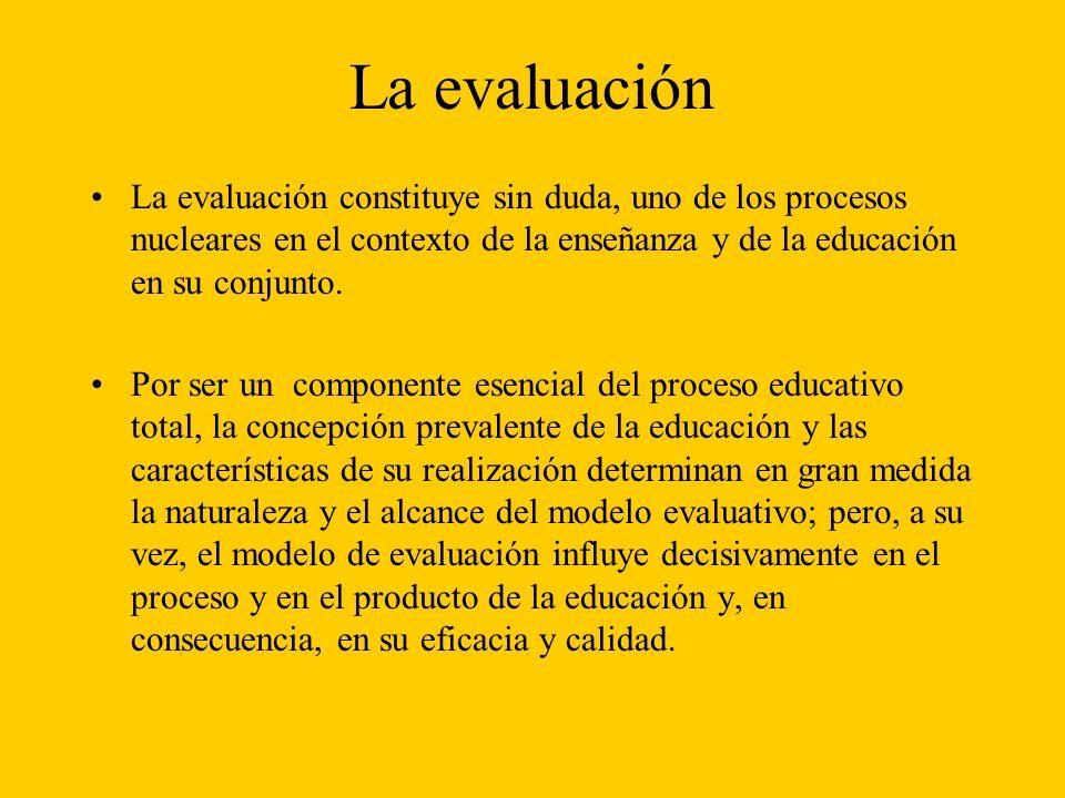 La evaluación La evaluación constituye sin duda, uno de los procesos nucleares en el contexto de la enseñanza y de la educación en su conjunto.