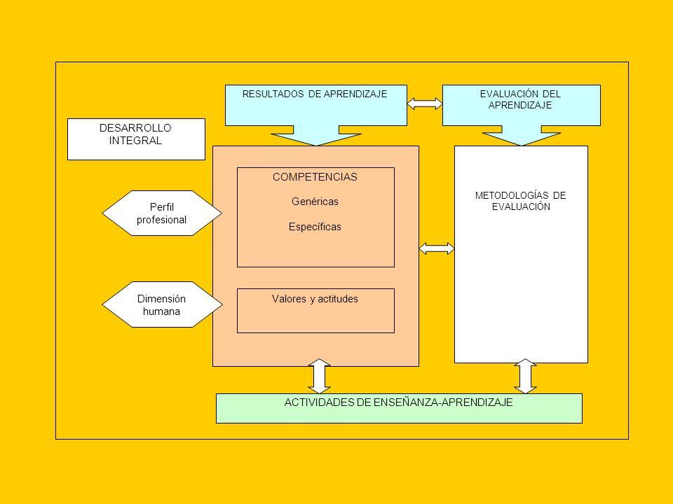 COMPETENCIAS Genéricas Específicas Valores y actitudes RESULTADOS DE APRENDIZAJE METODOLOGÍAS DE EVALUACIÓN EVALUACIÓN DEL APRENDIZAJE ACTIVIDADES DE ENSEÑANZA-APRENDIZAJE DESARROLLO INTEGRAL Perfil profesional Dimensión humana