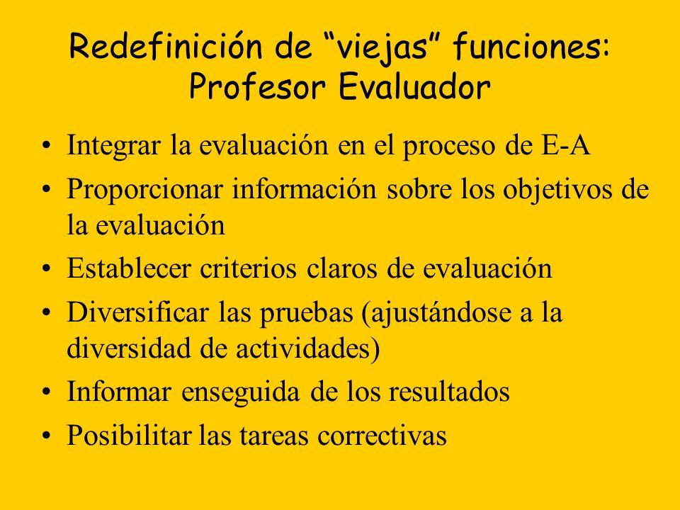 Redefinición de viejas funciones: Profesor Evaluador Integrar la evaluación en el proceso de E-A Proporcionar información sobre los objetivos de la evaluación Establecer criterios claros de evaluación Diversificar las pruebas (ajustándose a la diversidad de actividades) Informar enseguida de los resultados Posibilitar las tareas correctivas