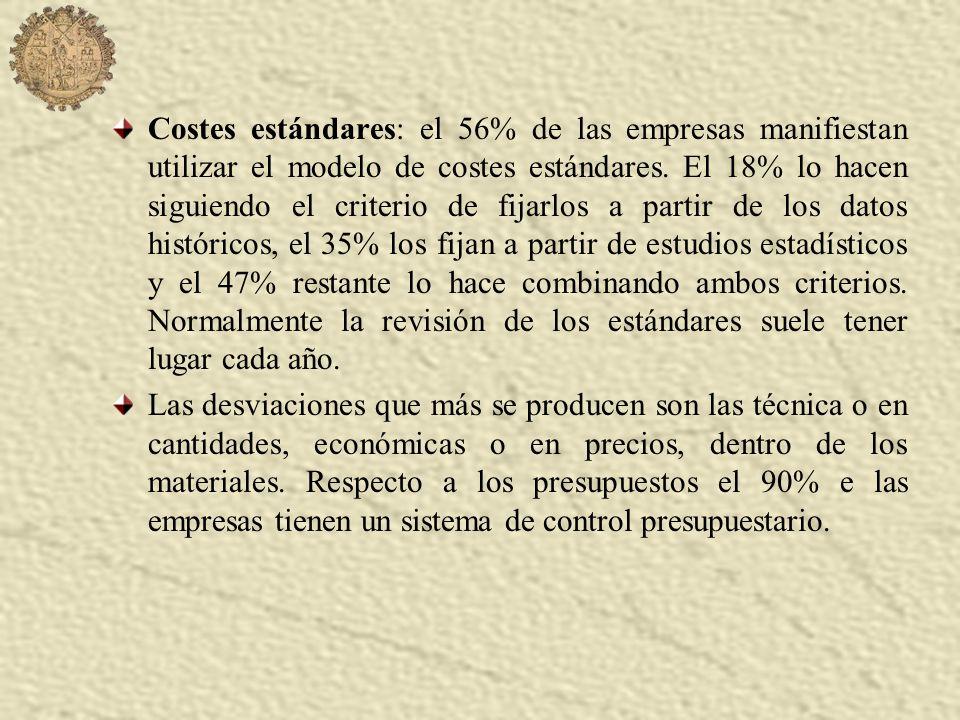 Costes estándares: el 56% de las empresas manifiestan utilizar el modelo de costes estándares.