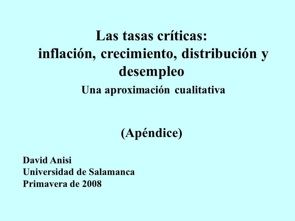 Las tasas críticas: inflación, crecimiento, distribución y desempleo Una aproximación cualitativa (Apéndice) David Anisi Universidad de Salamanca Primavera de 2008