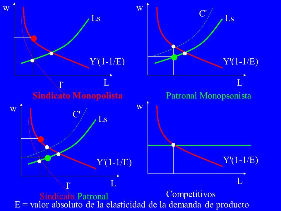 E = valor absoluto de la elasticidad de la demanda de producto Sindicato Monopolista Ls Y (1-1/E) I L w Ls Patronal Monopsonista Y (1-1/E) L w C Sindicato Patronal Ls Y (1-1/E) I L w C Competitivos Y (1-1/E) L w
