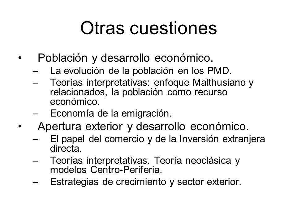 Otras cuestiones Población y desarrollo económico. –La evolución de la población en los PMD. –Teorías interpretativas: enfoque Malthusiano y relaciona