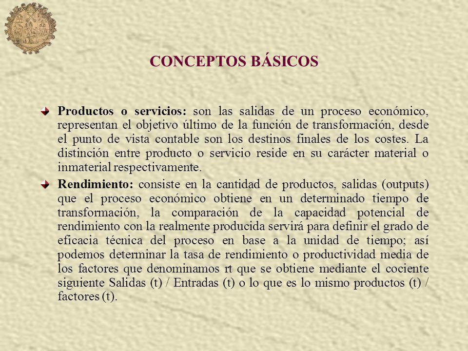 CONCEPTOS BÁSICOS Productos o servicios: son las salidas de un proceso económico, representan el objetivo último de la función de transformación, desde el punto de vista contable son los destinos finales de los costes.