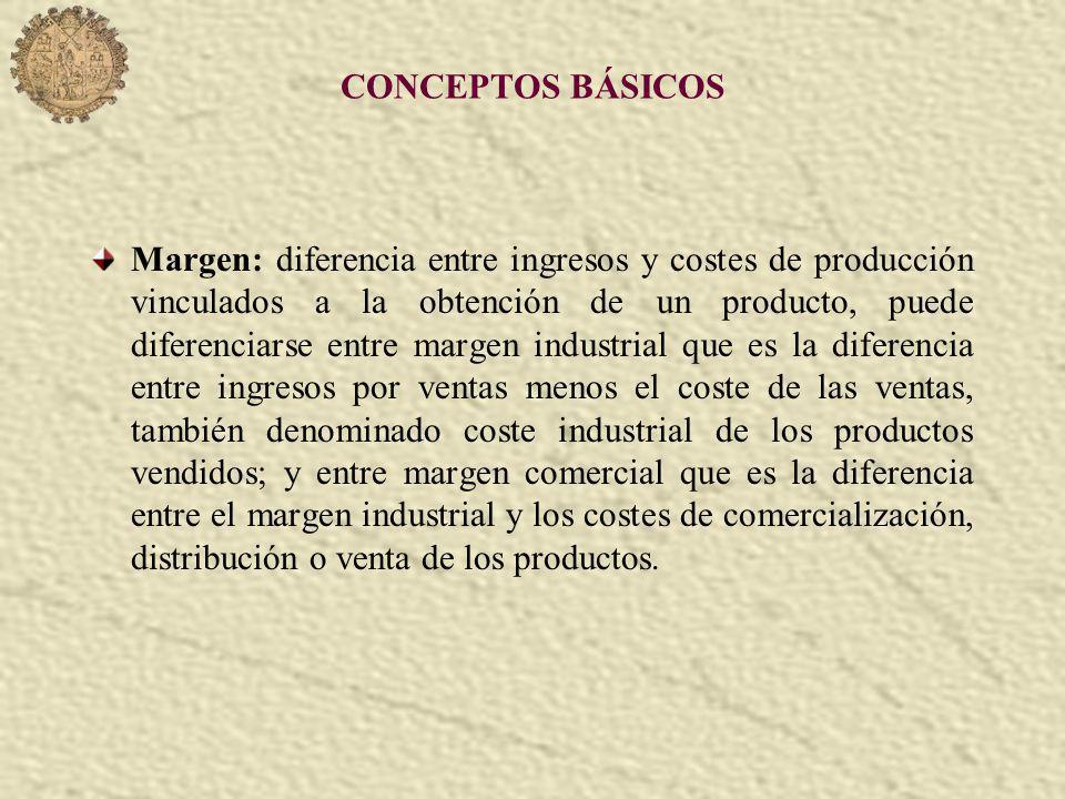 CONCEPTOS BÁSICOS Margen: diferencia entre ingresos y costes de producción vinculados a la obtención de un producto, puede diferenciarse entre margen