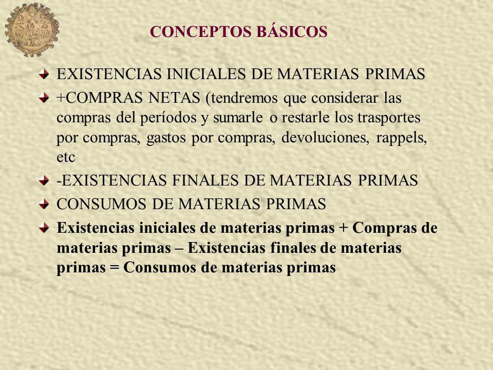 CONCEPTOS BÁSICOS EXISTENCIAS INICIALES DE MATERIAS PRIMAS +COMPRAS NETAS (tendremos que considerar las compras del períodos y sumarle o restarle los trasportes por compras, gastos por compras, devoluciones, rappels, etc -EXISTENCIAS FINALES DE MATERIAS PRIMAS CONSUMOS DE MATERIAS PRIMAS Existencias iniciales de materias primas + Compras de materias primas – Existencias finales de materias primas = Consumos de materias primas