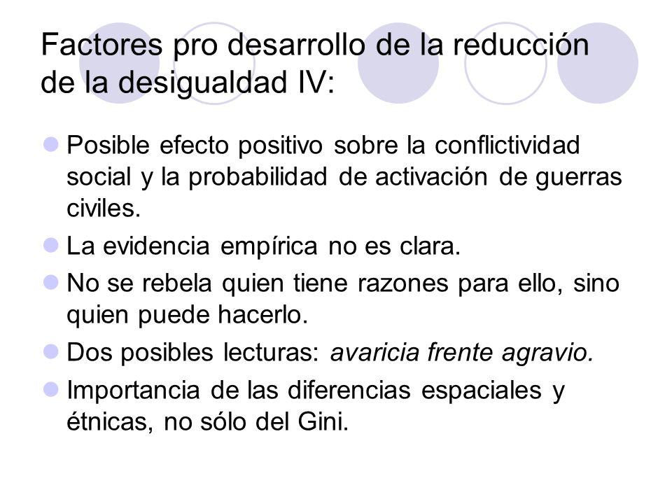 Factores pro desarrollo de la reducción de la desigualdad IV: Posible efecto positivo sobre la conflictividad social y la probabilidad de activación d
