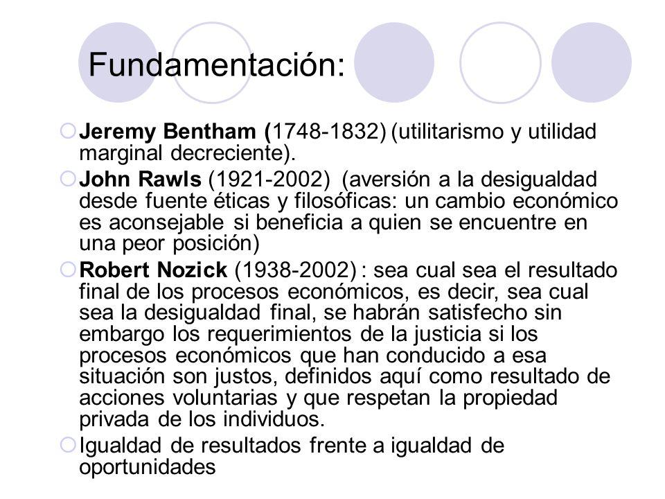Jeremy Bentham (1748-1832) (utilitarismo y utilidad marginal decreciente). John Rawls (1921-2002) (aversión a la desigualdad desde fuente éticas y fil