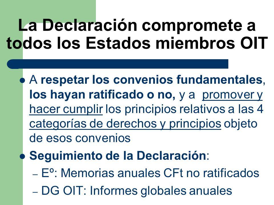 La Declaración compromete a todos los Estados miembros OIT A respetar los convenios fundamentales, los hayan ratificado o no, y a promover y hacer cum