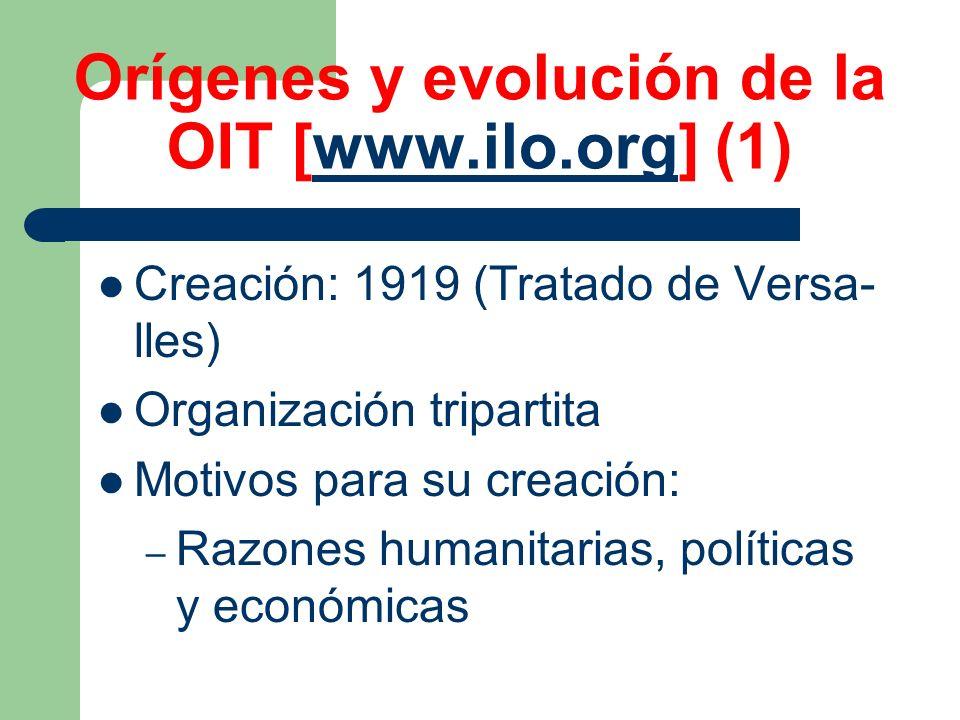 Orígenes y evolución de la OIT [www.ilo.org] (1)www.ilo.org Creación: 1919 (Tratado de Versa- lles) Organización tripartita Motivos para su creación: