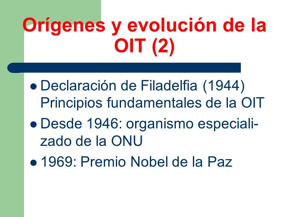 Orígenes y evolución de la OIT (2) Declaración de Filadelfia (1944) Principios fundamentales de la OIT Desde 1946: organismo especiali- zado de la ONU