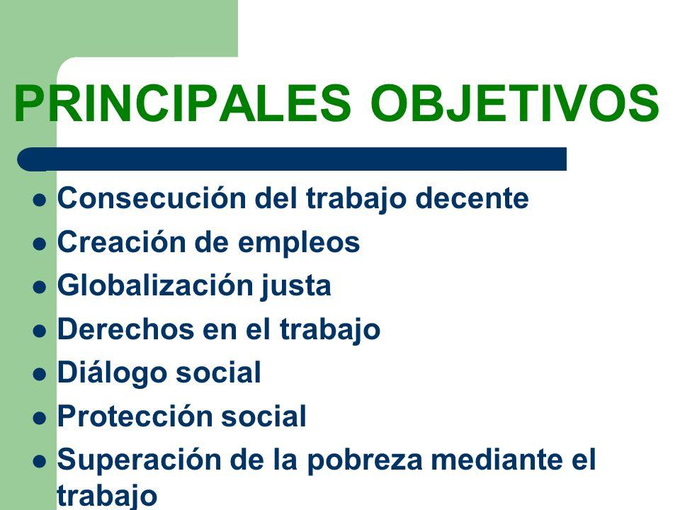 PRINCIPALES OBJETIVOS Consecución del trabajo decente Creación de empleos Globalización justa Derechos en el trabajo Diálogo social Protección social