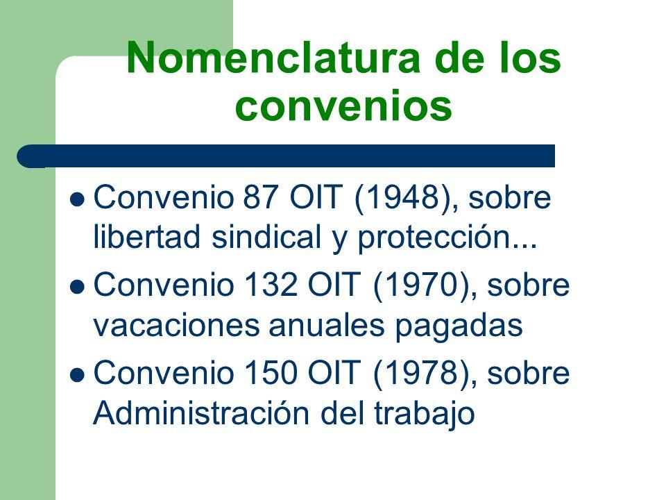 Nomenclatura de los convenios Convenio 87 OIT (1948), sobre libertad sindical y protección... Convenio 132 OIT (1970), sobre vacaciones anuales pagada