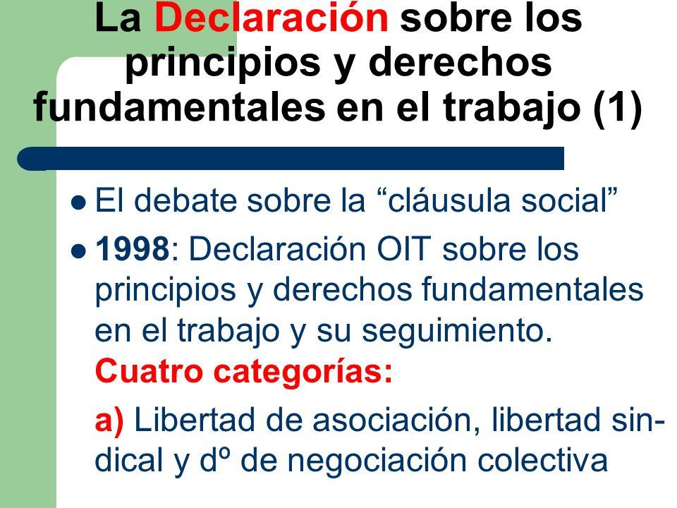 La Declaración sobre los principios y derechos fundamentales en el trabajo (2) b) Eliminación del trabajo forzoso c) Abolición efectiva del trabajo infantil d) Eliminación discriminación en mate- ria de empleo y ocupación 8 convenios fundamentales OIT