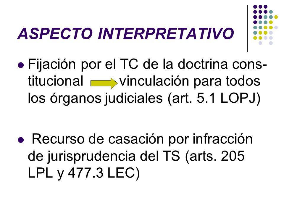 ASPECTO INTERPRETATIVO Fijación por el TC de la doctrina cons- titucional vinculación para todos los órganos judiciales (art. 5.1 LOPJ) Recurso de cas