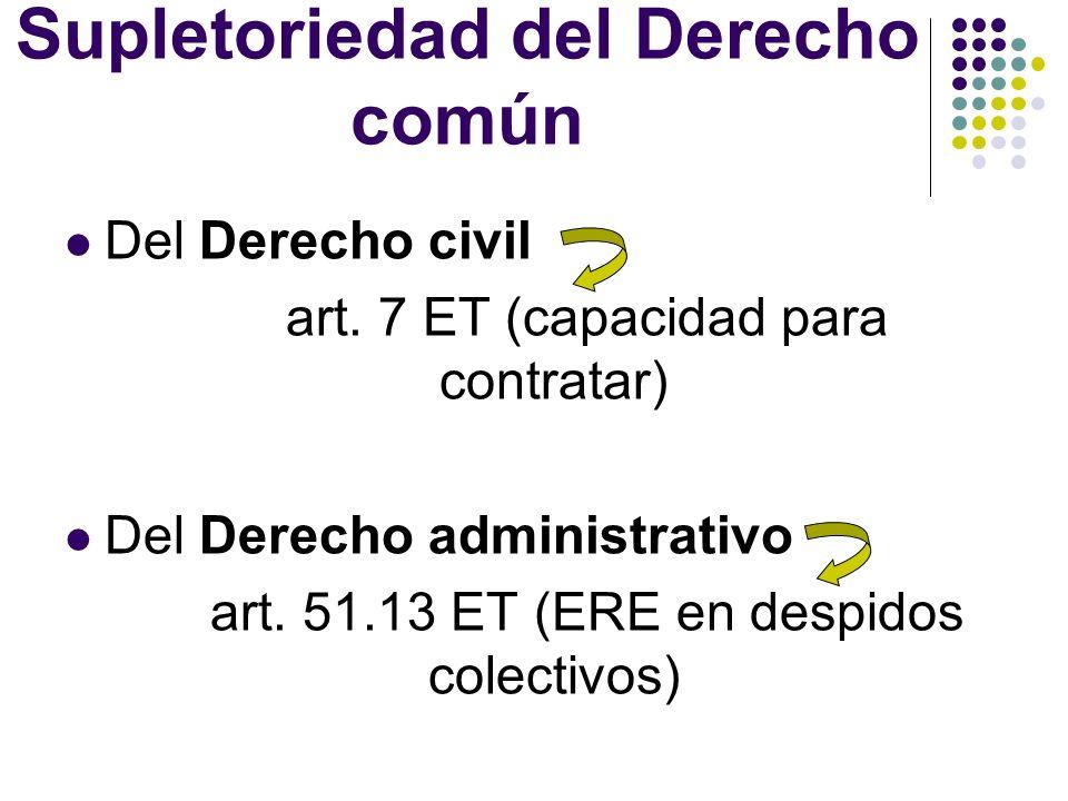 Supletoriedad del Derecho común Del Derecho civil art. 7 ET (capacidad para contratar) Del Derecho administrativo art. 51.13 ET (ERE en despidos colec