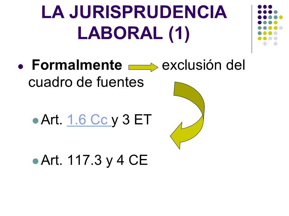 LA JURISPRUDENCIA LABORAL (1) Formalmente exclusión del cuadro de fuentes Art. 1.6 Cc y 3 ET1.6 Cc Art. 117.3 y 4 CE