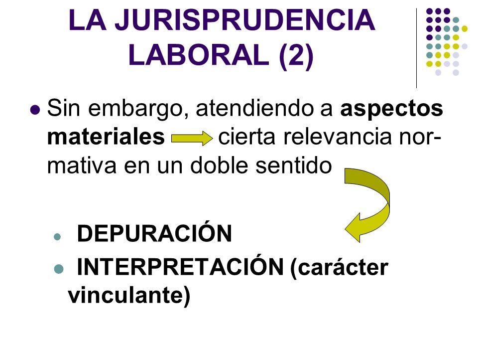 LA JURISPRUDENCIA LABORAL (2) Sin embargo, atendiendo a aspectos materiales cierta relevancia nor- mativa en un doble sentido DEPURACIÓN INTERPRETACIÓ
