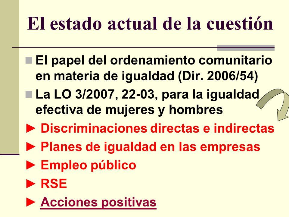 El estado actual de la cuestión El papel del ordenamiento comunitario en materia de igualdad (Dir.