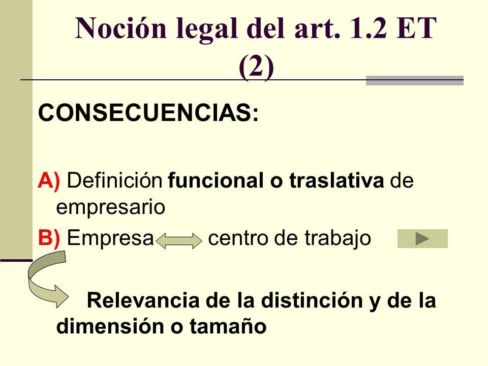 Noción legal de centro de trabajo (art.