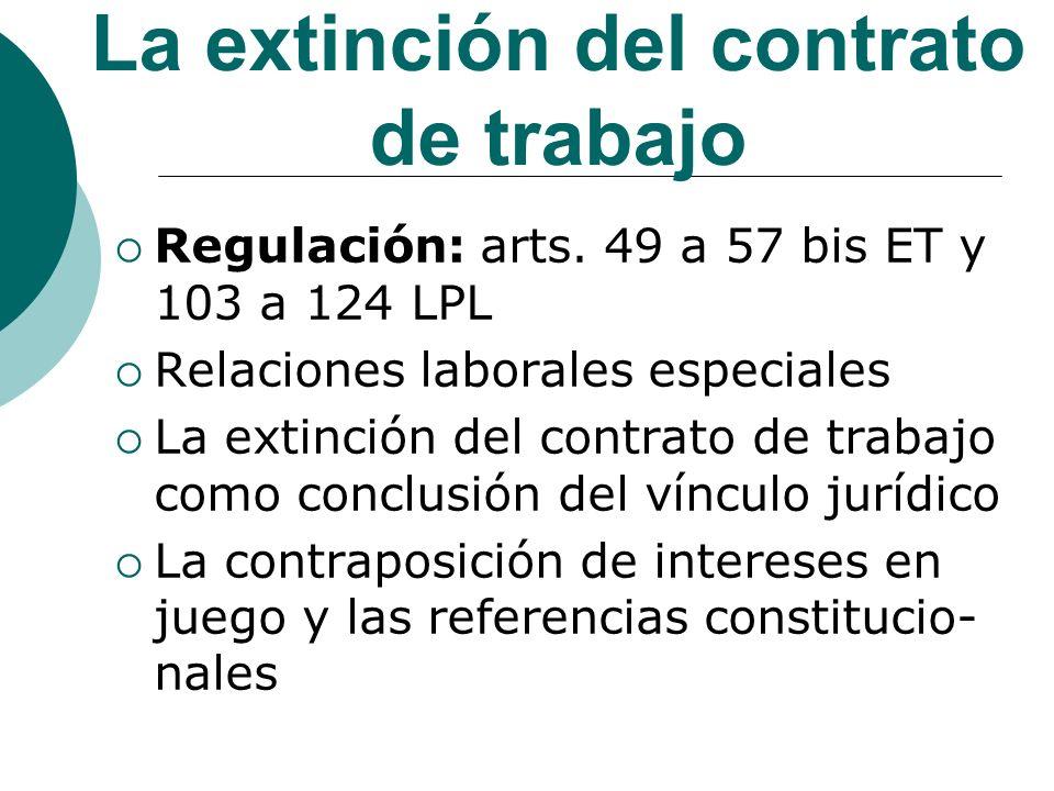 La extinción del contrato de trabajo Regulación: arts. 49 a 57 bis ET y 103 a 124 LPL Relaciones laborales especiales La extinción del contrato de tra