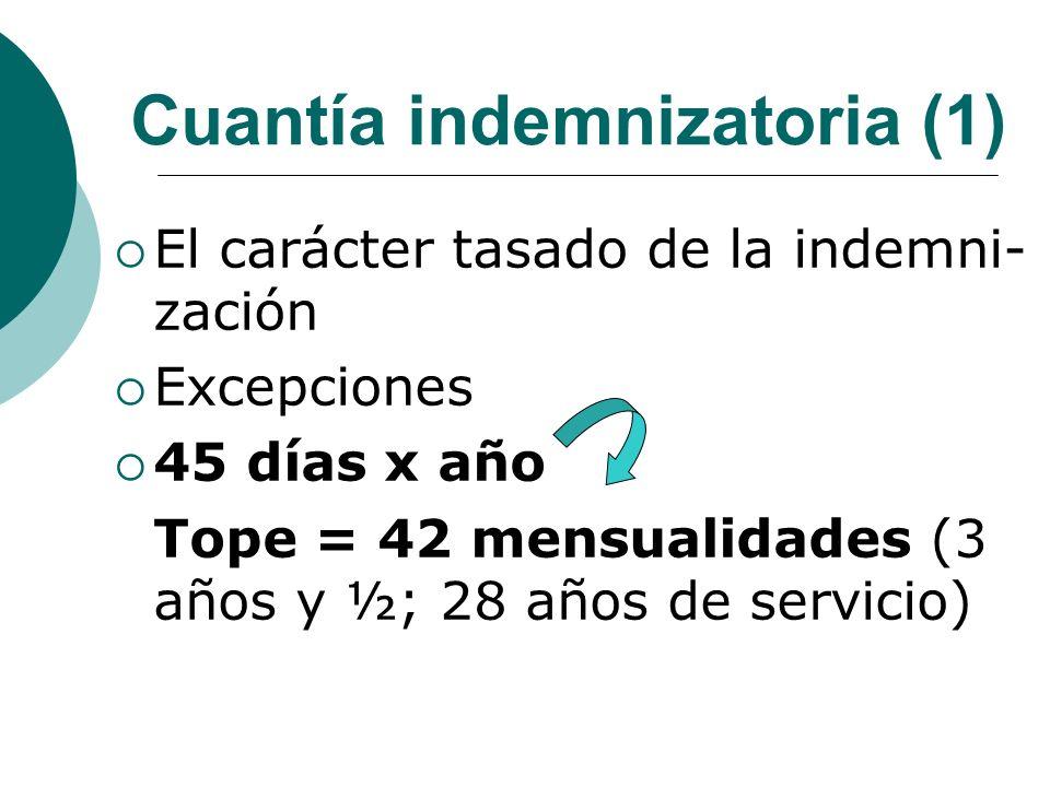 Cuantía indemnizatoria (1) El carácter tasado de la indemni- zación Excepciones 45 días x año Tope = 42 mensualidades (3 años y ½; 28 años de servicio