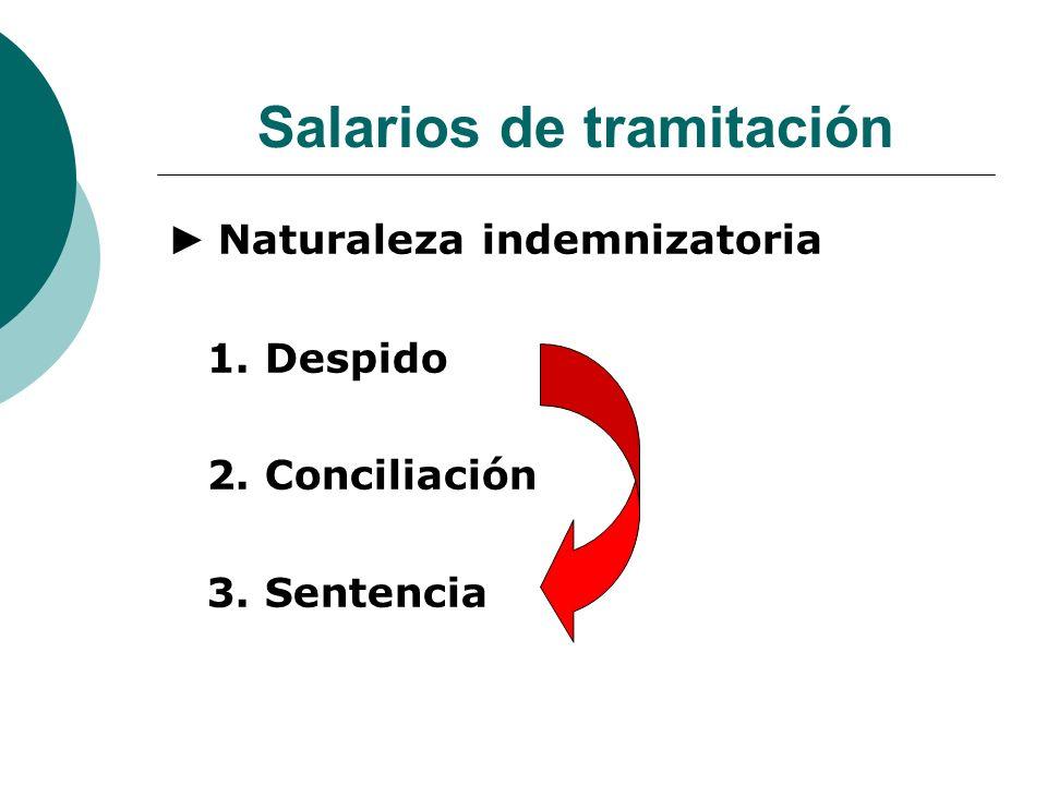 Salarios de tramitación Naturaleza indemnizatoria 1. Despido 2. Conciliación 3. Sentencia