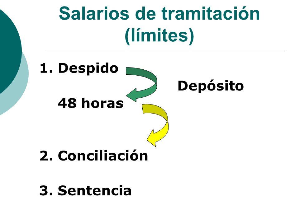 Salarios de tramitación (límites) 1. Despido Depósito 48 horas 2. Conciliación 3. Sentencia