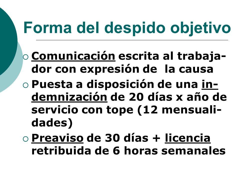 Forma del despido objetivo Comunicación escrita al trabaja- dor con expresión de la causa Puesta a disposición de una in- demnización de 20 días x año
