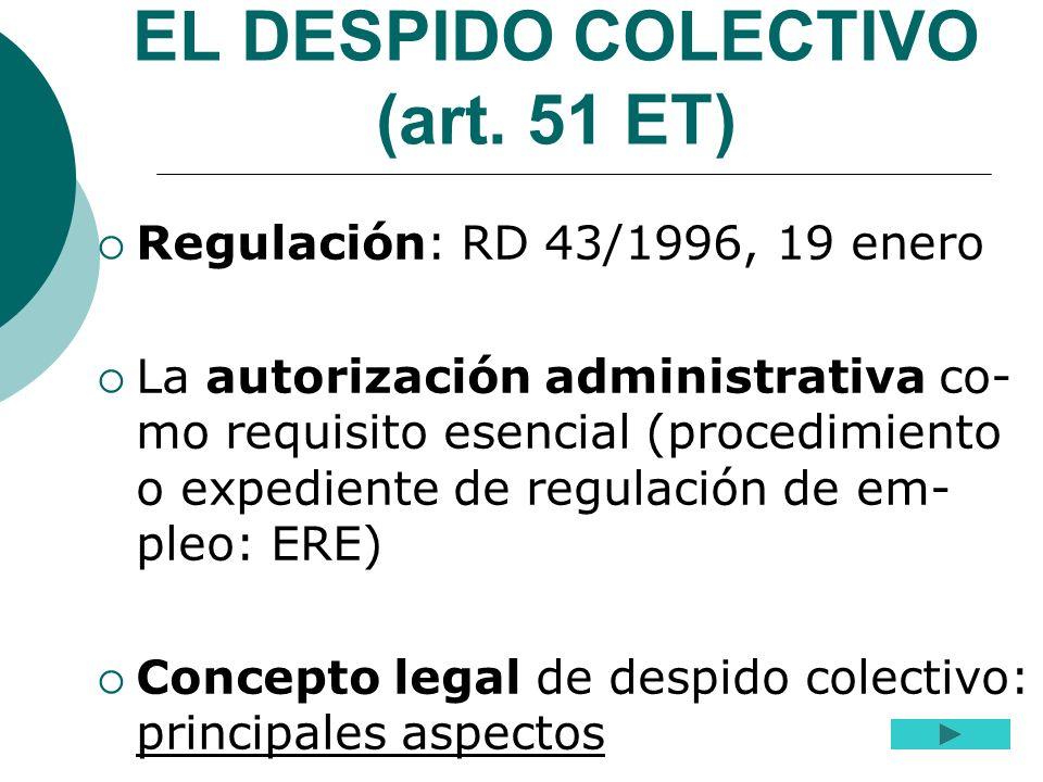 EL DESPIDO COLECTIVO (art. 51 ET) Regulación: RD 43/1996, 19 enero La autorización administrativa co- mo requisito esencial (procedimiento o expedient