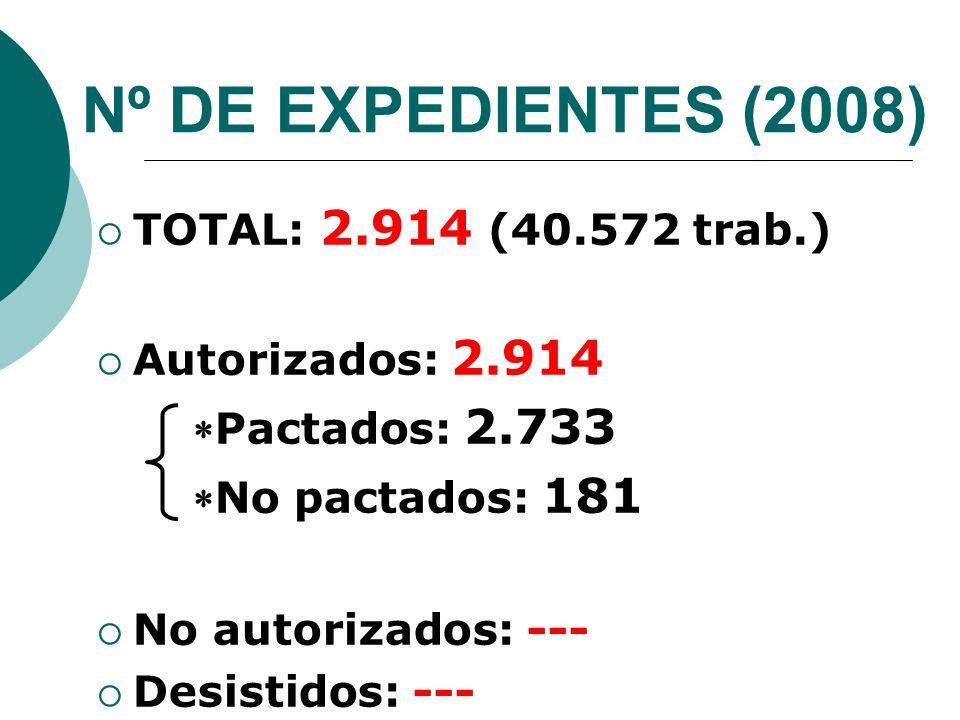 Nº DE EXPEDIENTES (2008) TOTAL: 2.914 (40.572 trab.) Autorizados: 2.914 Pactados: 2.733 No pactados: 181 No autorizados: --- Desistidos: ---