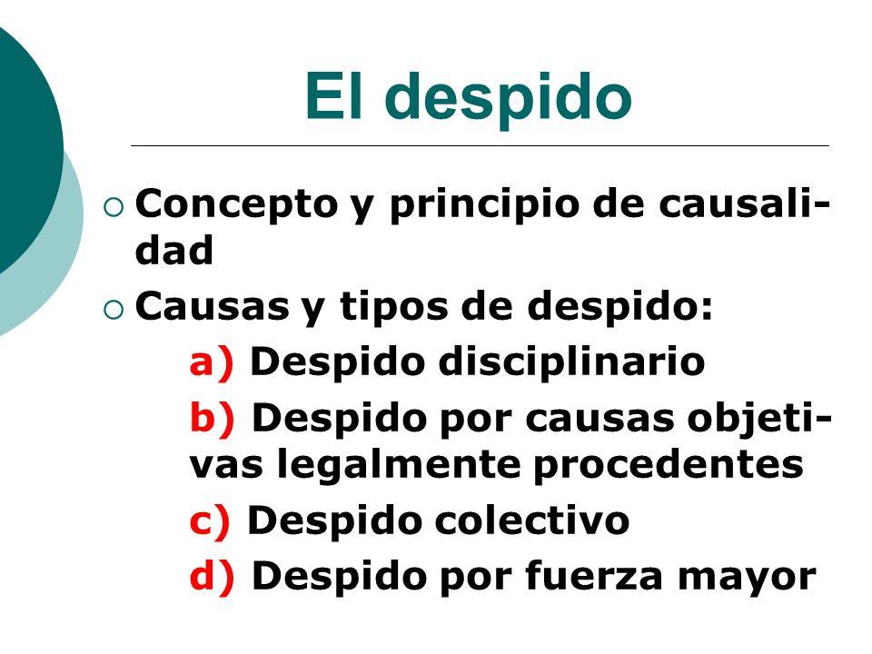 El despido Concepto y principio de causali- dad Causas y tipos de despido: a) Despido disciplinario b) Despido por causas objeti- vas legalmente proce