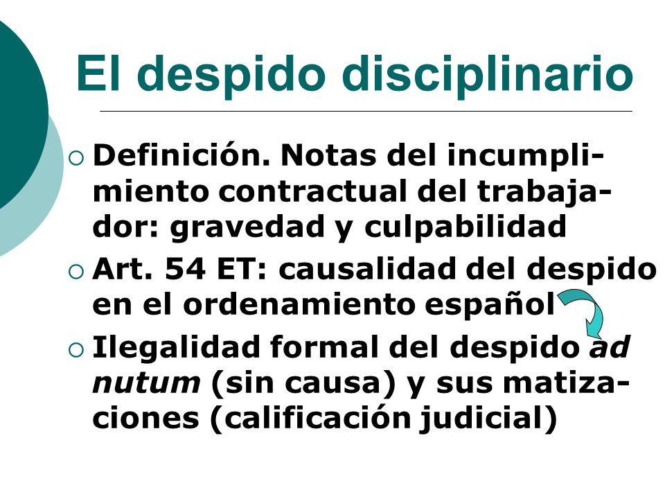 El despido disciplinario Definición. Notas del incumpli- miento contractual del trabaja- dor: gravedad y culpabilidad Art. 54 ET: causalidad del despi