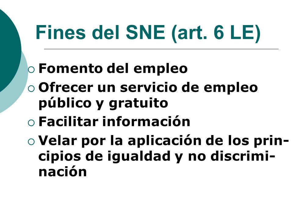 Fines del SNE (art. 6 LE) Fomento del empleo Ofrecer un servicio de empleo público y gratuito Facilitar información Velar por la aplicación de los pri