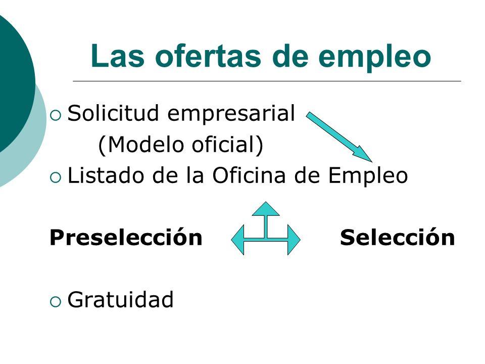 Las ofertas de empleo Solicitud empresarial (Modelo oficial) Listado de la Oficina de Empleo PreselecciónSelección Gratuidad