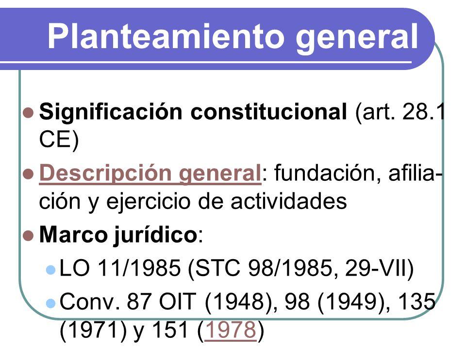 Planteamiento general Significación constitucional (art. 28.1 CE) Descripción general: fundación, afilia- ción y ejercicio de actividades Descripción