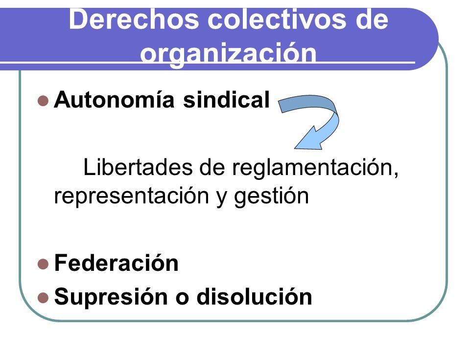 Derechos colectivos de organización Autonomía sindical Libertades de reglamentación, representación y gestión Federación Supresión o disolución