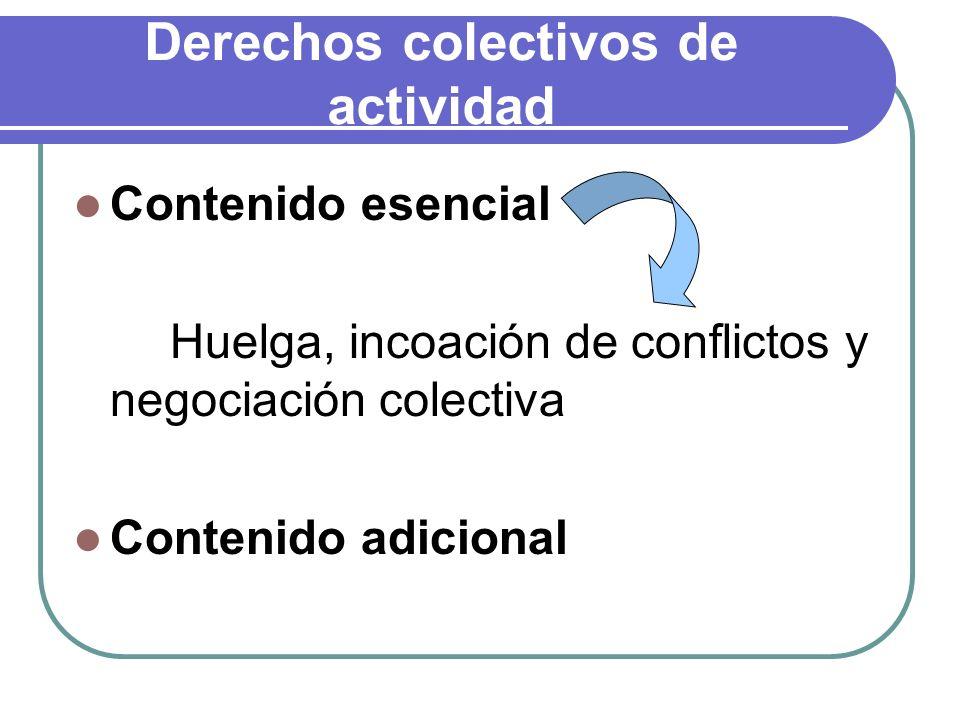 Derechos colectivos de actividad Contenido esencial Huelga, incoación de conflictos y negociación colectiva Contenido adicional