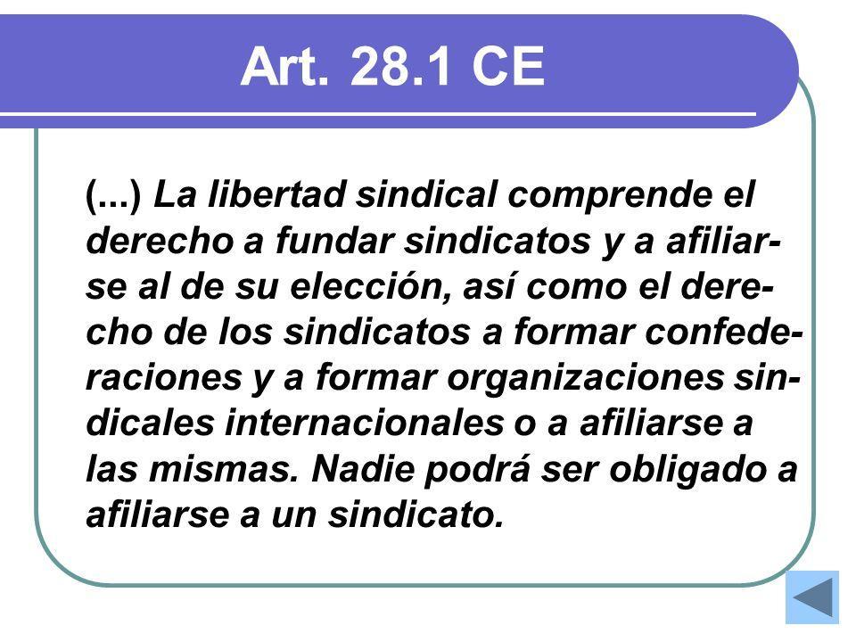 Art. 28.1 CE (...) La libertad sindical comprende el derecho a fundar sindicatos y a afiliar- se al de su elección, así como el dere- cho de los sindi