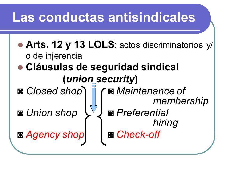 Las conductas antisindicales Arts. 12 y 13 LOLS : actos discriminatorios y/ o de injerencia Cláusulas de seguridad sindical (union security) Closed sh