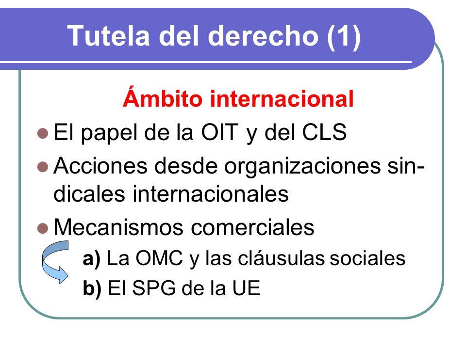 Tutela del derecho (1) Ámbito internacional El papel de la OIT y del CLS Acciones desde organizaciones sin- dicales internacionales Mecanismos comerci