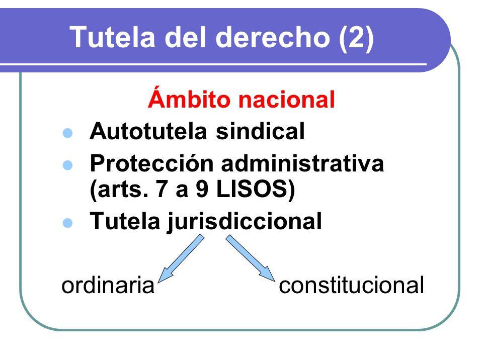 Tutela del derecho (2) Ámbito nacional Autotutela sindical Protección administrativa (arts. 7 a 9 LISOS) Tutela jurisdiccional ordinariaconstitucional