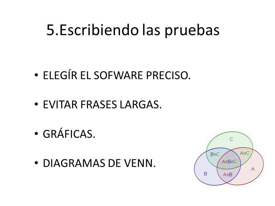 5.Escribiendo las pruebas ELEGÍR EL SOFWARE PRECISO.