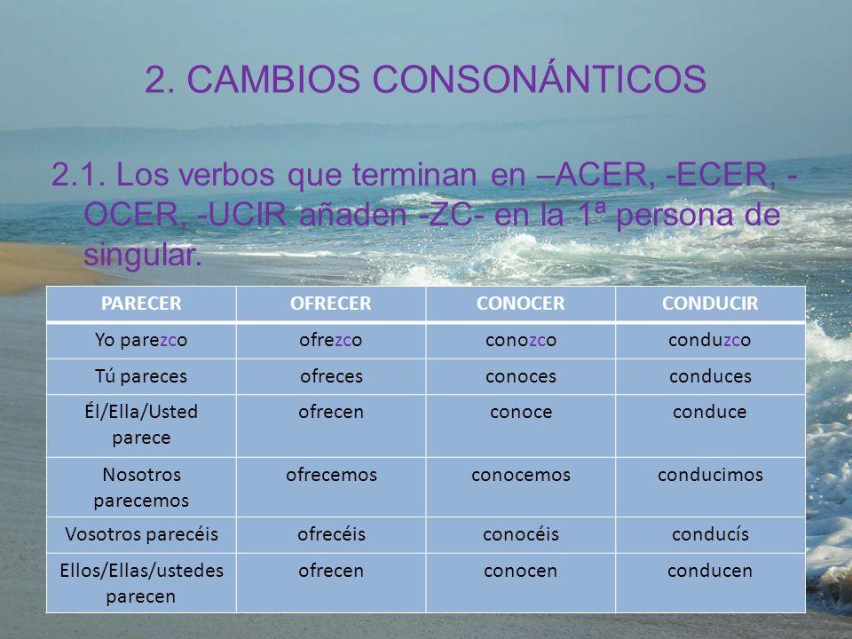 2. CAMBIOS CONSONÁNTICOS 2.1. Los verbos que terminan en –ACER, -ECER, - OCER, -UCIR añaden -ZC- en la 1ª persona de singular. PARECEROFRECERCONOCERCO