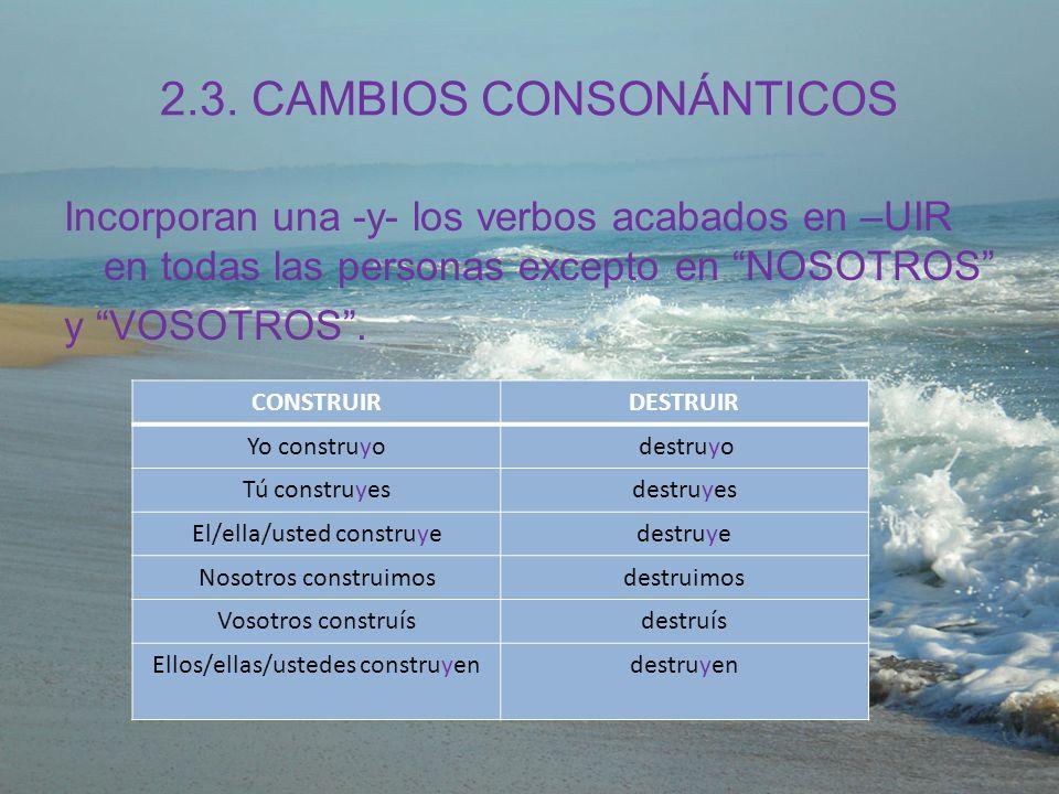 2.3. CAMBIOS CONSONÁNTICOS Incorporan una -y- los verbos acabados en –UIR en todas las personas excepto en NOSOTROS y VOSOTROS. CONSTRUIRDESTRUIR Yo c
