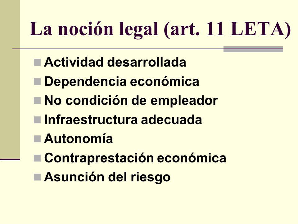 La noción legal (art. 11 LETA) Actividad desarrollada Dependencia económica No condición de empleador Infraestructura adecuada Autonomía Contraprestac