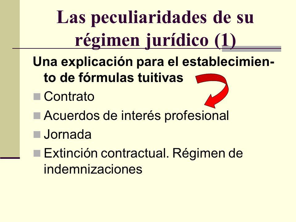 Las peculiaridades de su régimen jurídico (1) Una explicación para el establecimien- to de fórmulas tuitivas Contrato Acuerdos de interés profesional